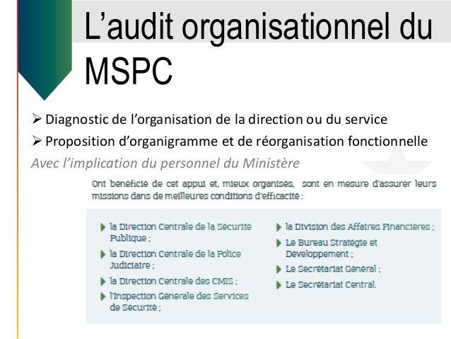 L'audit organisationnel du MSPC Diagnostic de l'organisation de la direction ou du service Proposition d'organigramme et...