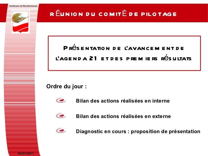 05/07/2011 Commune de Rochechouart RÉUNION DU COMITÉ DE PILOTAGE   Présentation de l'avancement de l'agenda 21 et des prem...
