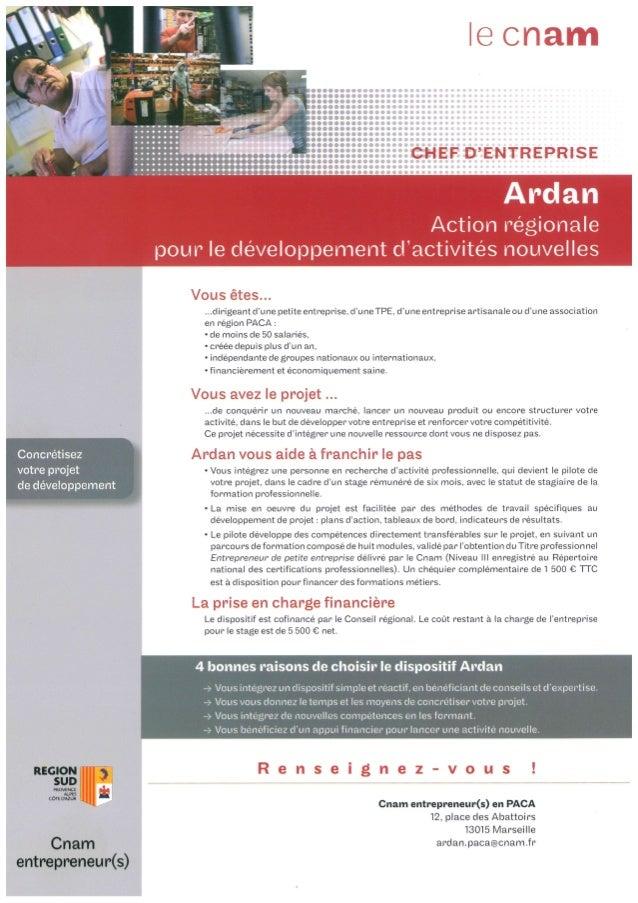 Présentation du dispositif ARDAN - Cnam / Marseille Innovation