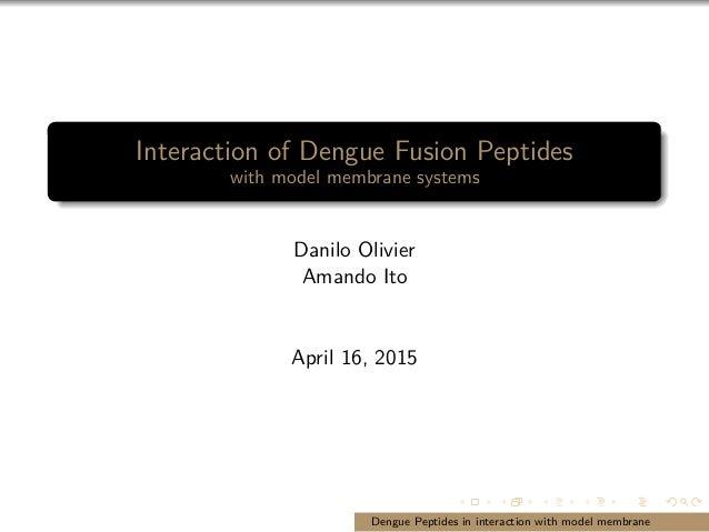 Interaction of Dengue Fusion Peptides with model membrane systems Danilo Olivier Amando Ito April 16, 2015 Danilo Olivier ...