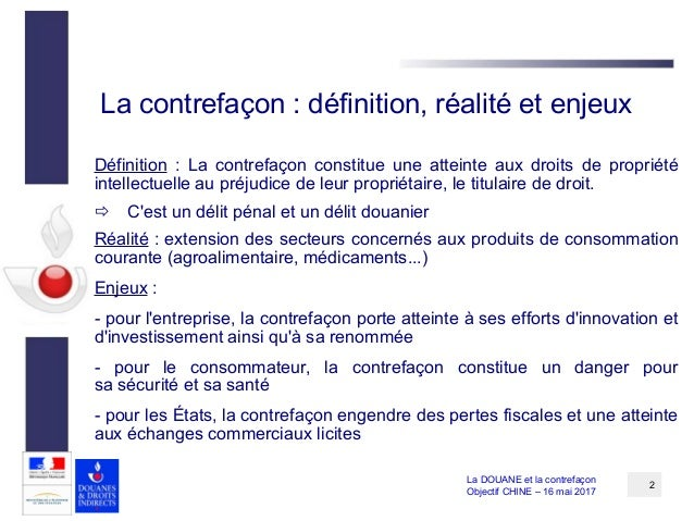 L 39 action de la douane en mati re de contrefa on for Definition delit