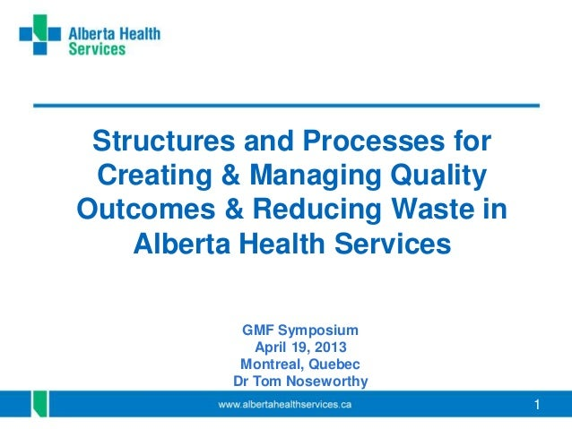 11Structures and Processes forCreating & Managing QualityOutcomes & Reducing Waste inAlberta Health ServicesGMF SymposiumA...