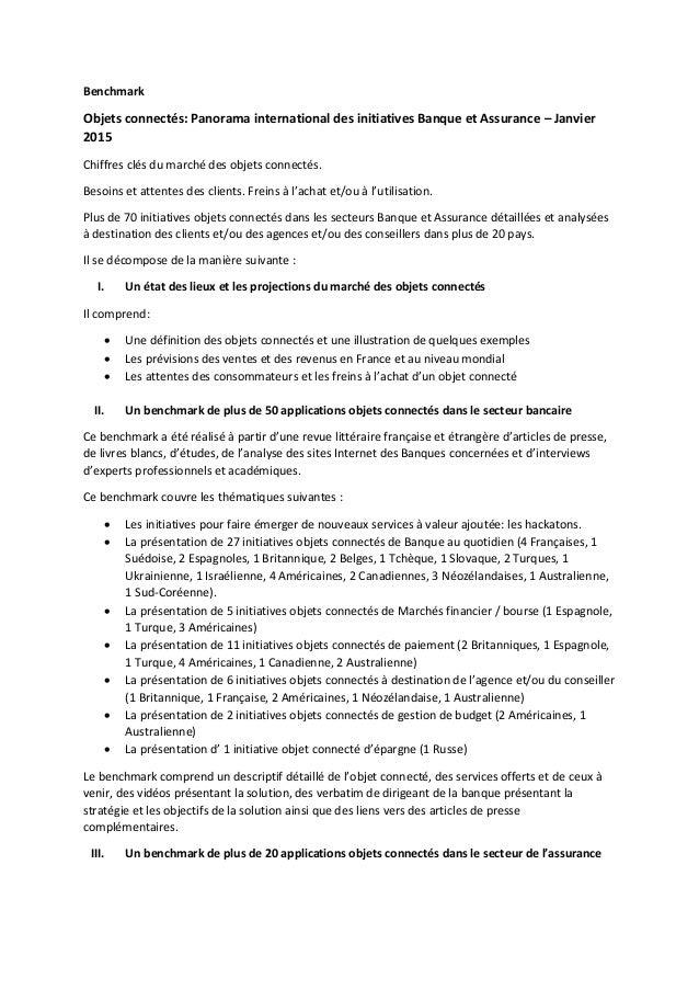 Benchmark Objets connectés: Panorama international des initiatives Banque et Assurance – Janvier 2015 Chiffres clés du mar...