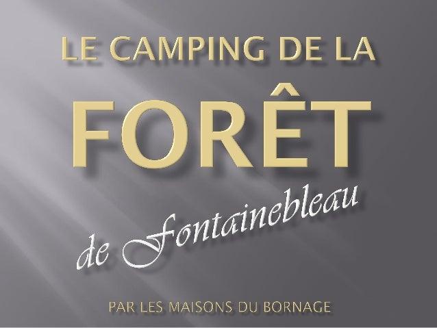  Localisation en Seine et Marne : Le camping dela Forêt de Fontainebleau est situé en forêtdomaniale et en bord de Seine,...