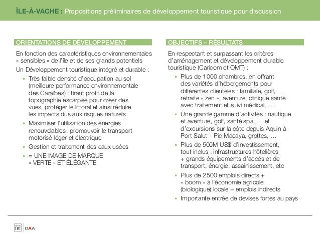 ÎLE-À-VACHE : Propositions préliminaires de développement touristique pour discussionORIENTATIONS DE DÉVELOPPEMENT        ...