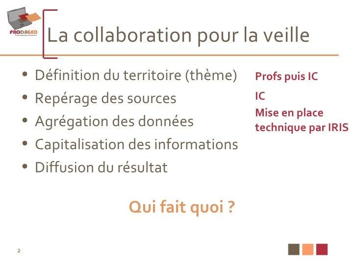 La collaboration pour la veille <ul><li>Définition du territoire (thème) </li></ul><ul><li>Repérage des sources </li></ul>...