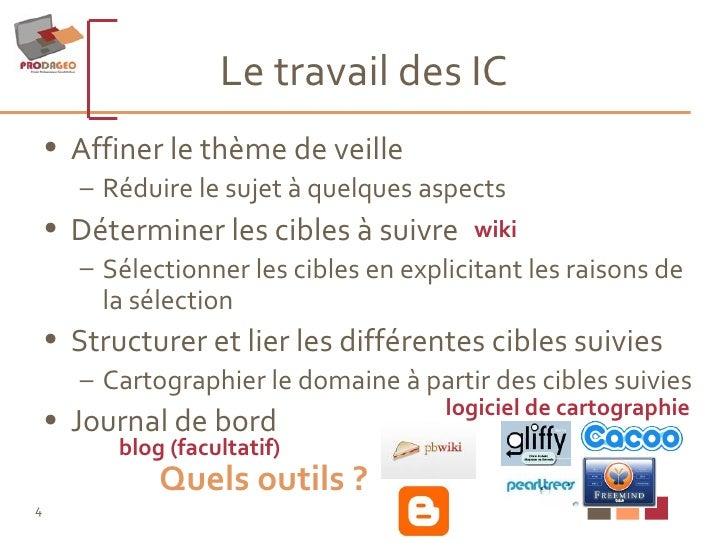 Le travail des IC <ul><li>Affiner le thème de veille </li></ul><ul><ul><li>Réduire le sujet à quelques aspects </li></ul><...