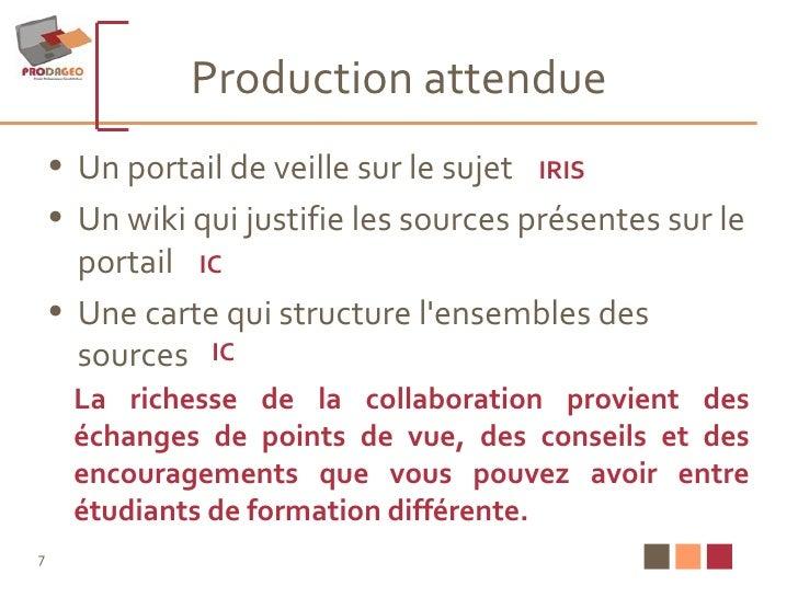 Production attendue <ul><li>Un portail de veille sur le sujet </li></ul><ul><li>Un wiki qui justifie les sources présentes...