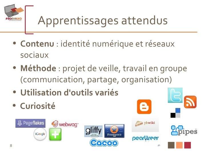 Apprentissages attendus  <ul><li>Contenu  : identité numérique et réseaux sociaux </li></ul><ul><li>Méthode  : projet de v...