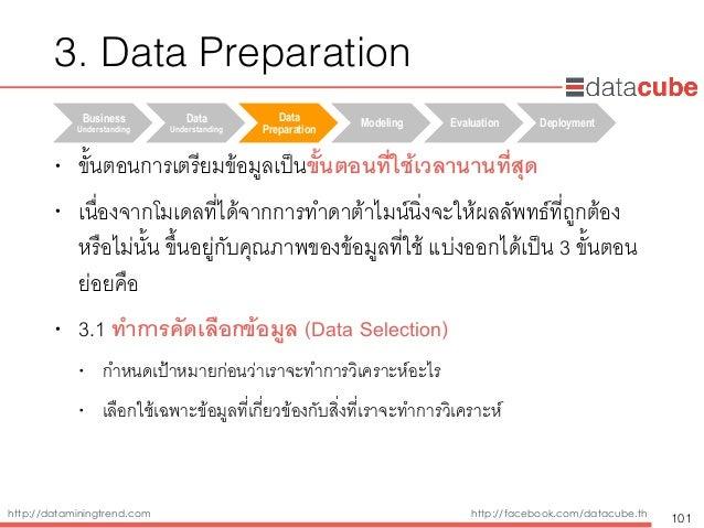 http://dataminingtrend.com http://facebook.com/datacube.th • ขั้นตอนการเตรียมข้อมูลเป็นขั้นตอนที่ใช้เวลานานที่สุด • เนื่อง...