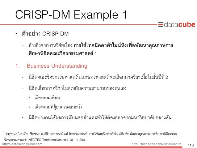 http://dataminingtrend.com http://facebook.com/datacube.th CRISP-DM Example 1 • ตัวอย่าง CRISP-DM • อ้างอิงจากงานวิจัยเรื่...