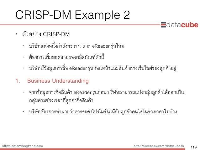 http://dataminingtrend.com http://facebook.com/datacube.th CRISP-DM Example 2 • ตัวอย่าง CRISP-DM • บริษัทแห่งหนึ่งกำลังจะ...