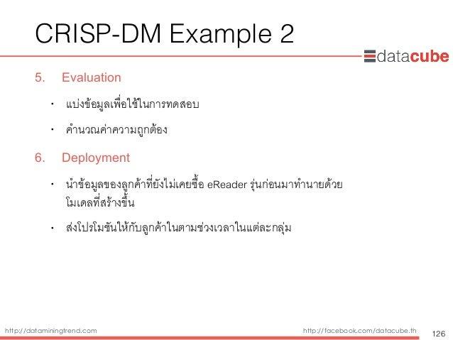 http://dataminingtrend.com http://facebook.com/datacube.th CRISP-DM Example 2 5. Evaluation • แบ่งข้อมูลเพื่อใช้ในการทดสอบ...