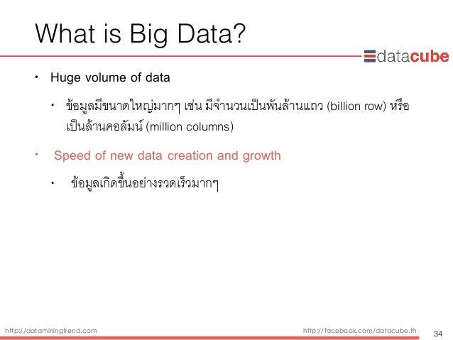 http://dataminingtrend.com http://facebook.com/datacube.th What is Big Data? • Huge volume of data • ข้อมูลมีขนาดใหญ่มากๆ ...