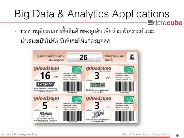 http://dataminingtrend.com http://facebook.com/datacube.th Big Data & Analytics Applications • ทราบพฤติกรรมการซื้อสินค้าขอ...