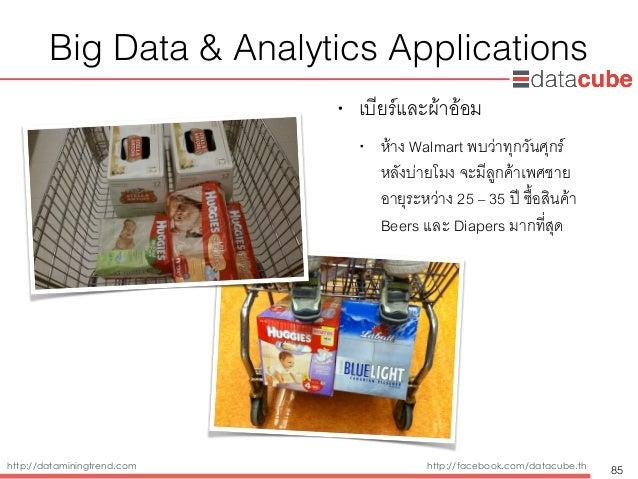 http://dataminingtrend.com http://facebook.com/datacube.th Big Data & Analytics Applications • เบียร์และผ้าอ้อม • ห้าง Wal...