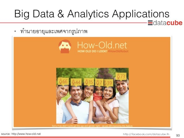 http://dataminingtrend.com http://facebook.com/datacube.th Big Data & Analytics Applications • ทำนายอายุและเพศจากรูปภาพ 93...