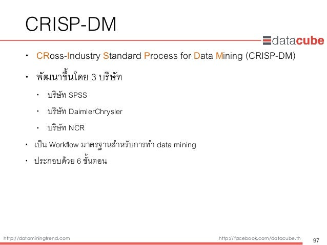 http://dataminingtrend.com http://facebook.com/datacube.th CRISP-DM • CRoss-Industry Standard Process for Data Mining (CRI...