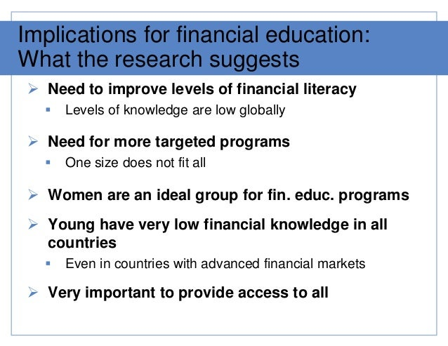 financial outcomes paper This paper presents a framework for studying the outcomes and impacts of financial education programsthe paper focuses specifically on outcomes of financial literacy in five thematic areas these include: budgeting savings debt management financial negotiations bank services under each thematic area, the paper suggests indicators to study.