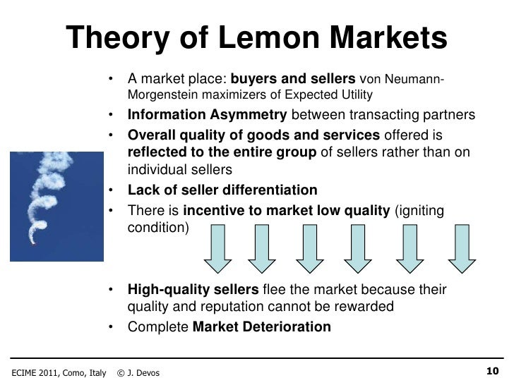 lemon market theory Economic classroom experiments/lemon game  the market for second hand cars is an example of a lemon market  game theory guessing game .