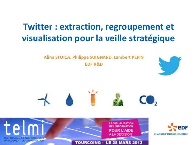 Twitter : extraction, regroupement etvisualisation pour la veille stratégique     Alina STOICA, Philippe SUIGNARD, Lambert...