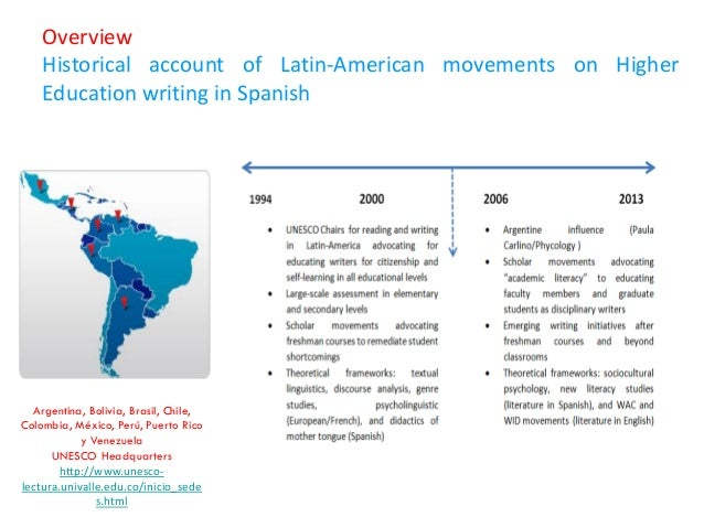 Overview Historical account of Latin-American movements on Higher Education writing in Spanish  Argentina, Bolivia, Brasil...