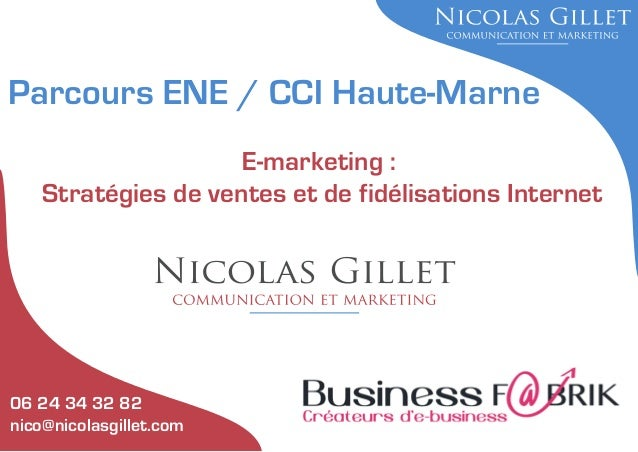 Parcours ENE / CCI Haute-Marne E-marketing : Stratégies de ventes et de fidélisations Internet  06 24 34 32 82 nico@nicola...