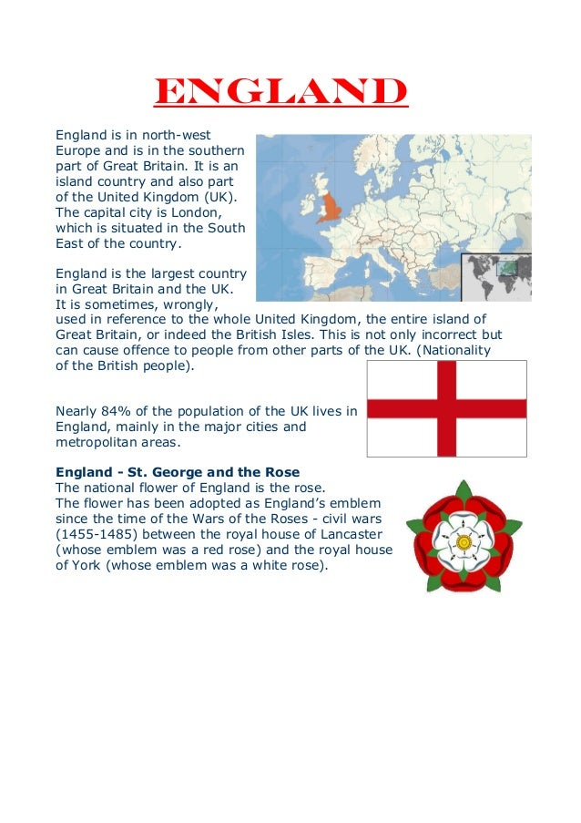 ENGLANDEngland is in north-westEurope and is in the southernpart of Great Britain. It is anisland country and also partof ...