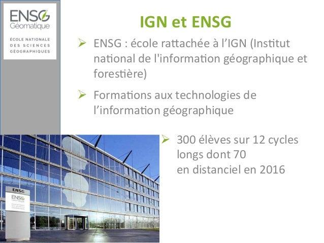 Réutilisation des ressources : de la conception pédagogique à l'optimisation des parcours en distanciel : Exemple de l'École nationale des sciences géographiques Slide 2