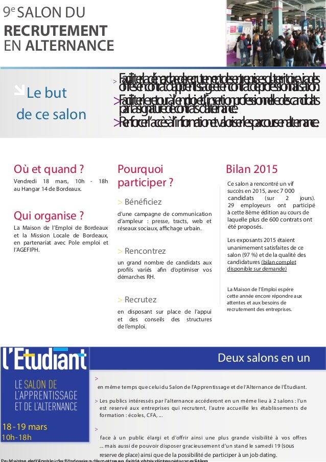 Presentation entreprise salon recrutement alternance bordeaux 2016 - Salon de l alternance bordeaux ...