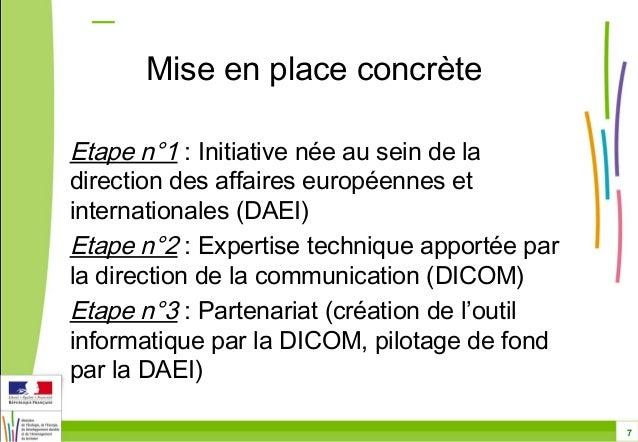 7  Mise en place concrète  Etape n°1 : Initiative née au sein de la  direction des affaires européennes et  internationale...
