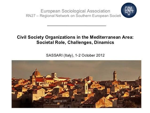European Sociological Association    RN27 – Regional Network on Southern European SocietiesCivil Society Organizations in ...
