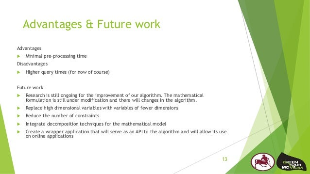 Advantages & Future work Advantages  Minimal pre-processing time Disadvantages  Higher query times (for now of course) F...