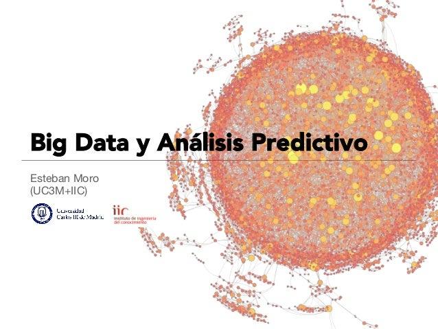 Big Data y Análisis Predictivo Esteban Moro (UC3M+IIC)  Big Data Potencial para predicción en modelos de comportamiento Es...