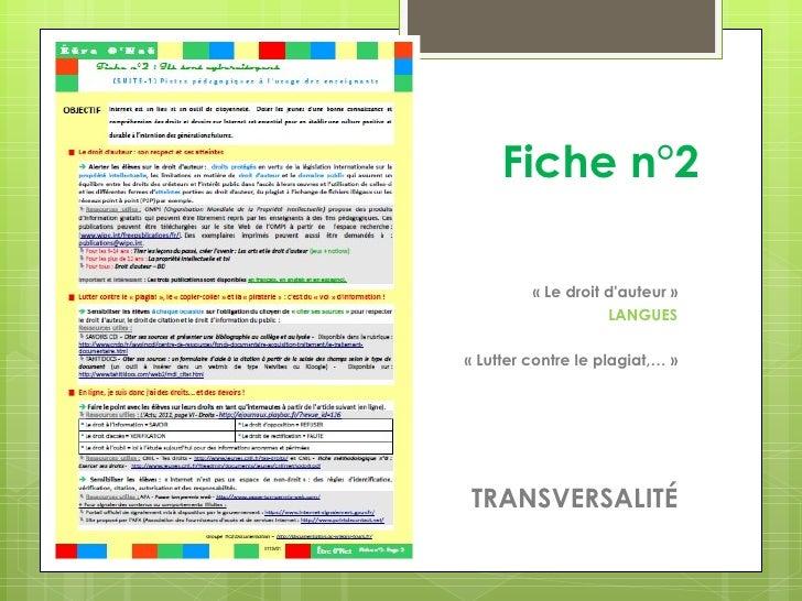 Fiche n°2         «Le droit dauteur»                    LANGUES«Lutter contre le plagiat,…»TRANSVERSALITÉ