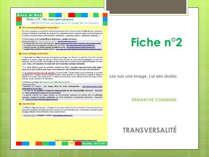 Fiche n°2«Je suis une image, j'ai des droits»           DÉMARCHE COMMUNE       TRANSVERSALITÉ