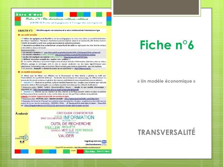 Fiche n°6« Un modèle économique »TRANSVERSALITÉ