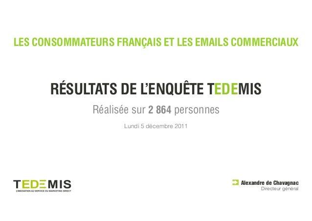 LES CONSOMMATEURS FRANÇAIS ET LES EMAILS COMMERCIAUX      RÉSULTATS DE L'ENQUÊTE TEDEMIS              Réalisée sur 2 864 p...