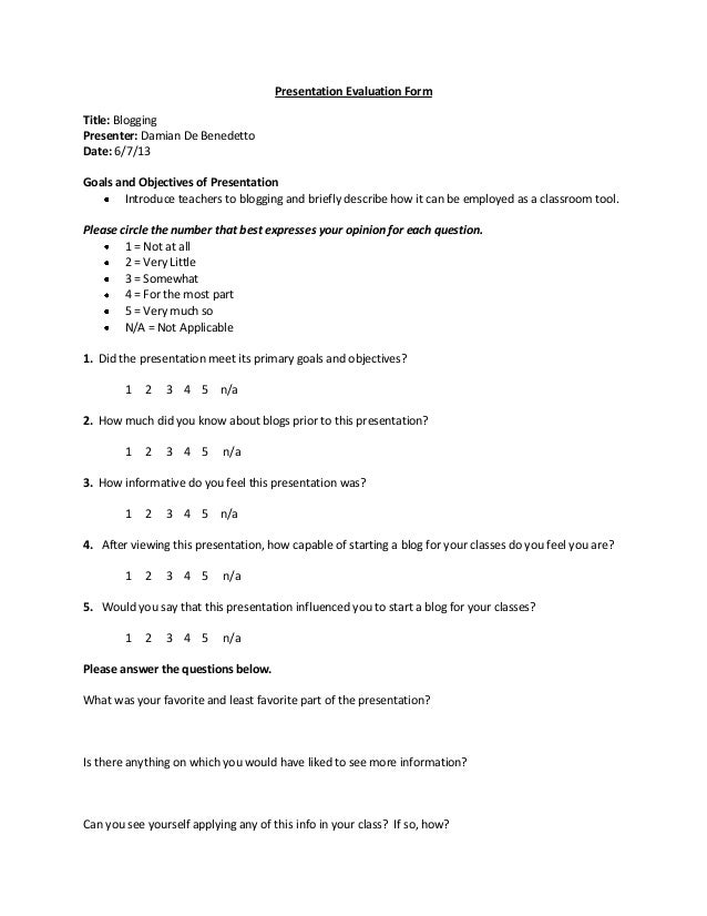 Presentation Evaluation | Presentation Evaluation Form