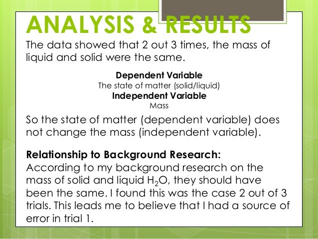how to write analysis of results examples