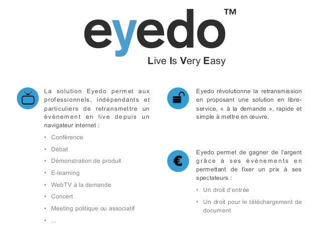 """!""""!#$%€La solution Eyedo permet auxprofessionnels, indépendants etparticuliers de retransmettre unévénement en live depuis..."""