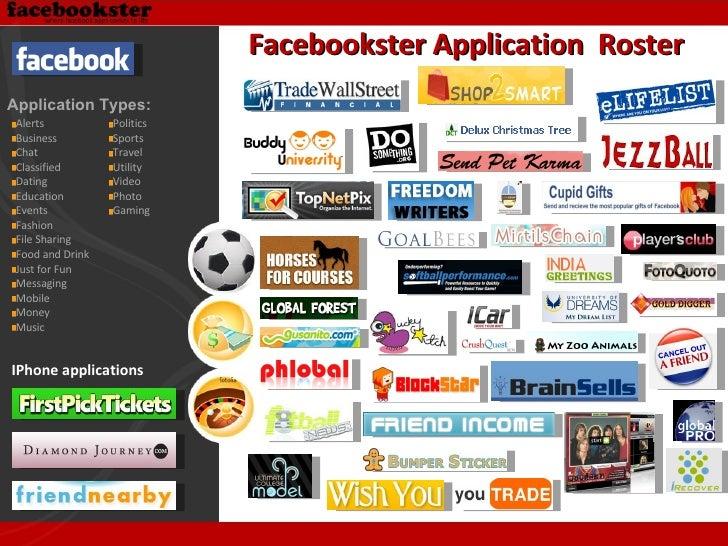 Facebookster Application  Roster IPhone applications <ul><li>Alerts </li></ul><ul><li>Business </li></ul><ul><li>Chat </li...