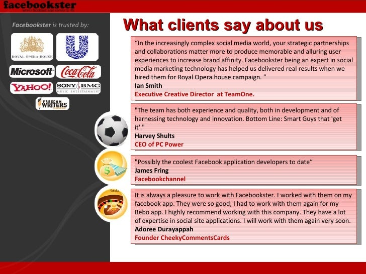 """What clients say about us """" In the increasingly complex social media world, your strategic partnerships and collaborations..."""