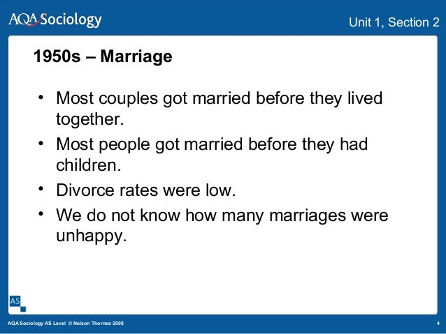 4AQA Sociology AS Level © Nelson Thornes 2008 Unit 1, Section 2 • Most couples got married before they lived together. • M...