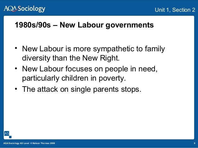 9AQA Sociology AS Level © Nelson Thornes 2008 Unit 1, Section 2 1980s/90s – New Labour governments • New Labour is more sy...