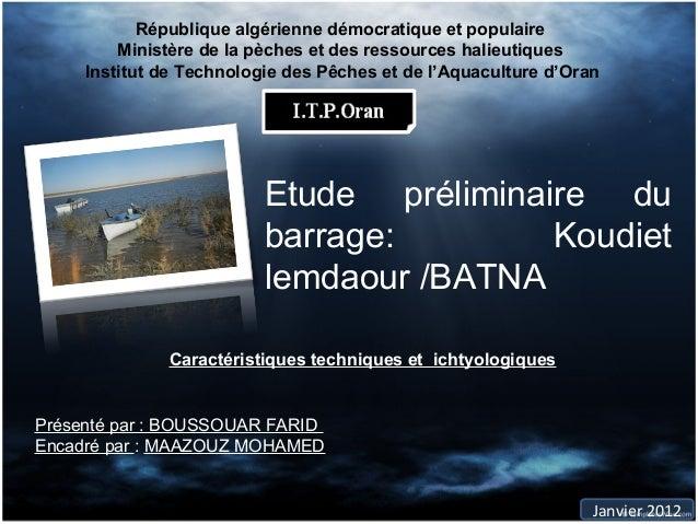 République algérienne démocratique et populaire         Ministère de la pèches et des ressources halieutiques     Institut...