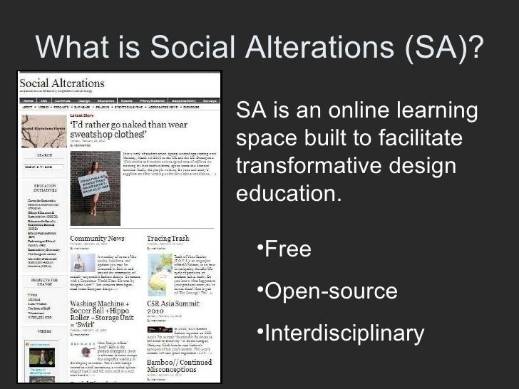 Social Alterations: An Education Lab for Socially Responsible Design Slide 3
