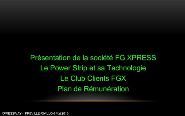Présentation de la société FG XPRESSLe Power Strip et sa TechnologieLe Club Clients FGXPlan de RémunérationXPRESSWAY - FRE...