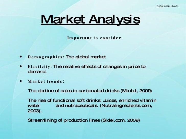 Market Analysis <ul><li>Important to consider: </li></ul><ul><li>Demographics : The global market </li></ul><ul><li>Elasti...