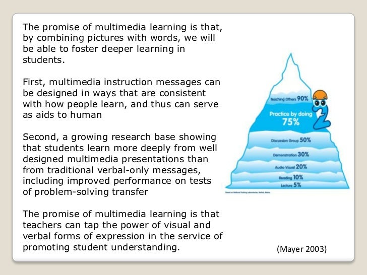 mayers cognitive theory of multimedia learning 31 the multimedia learning model based on the multimedia learning model in figure 1, the arrows represent the steps of processing involved in the cognitive theory.